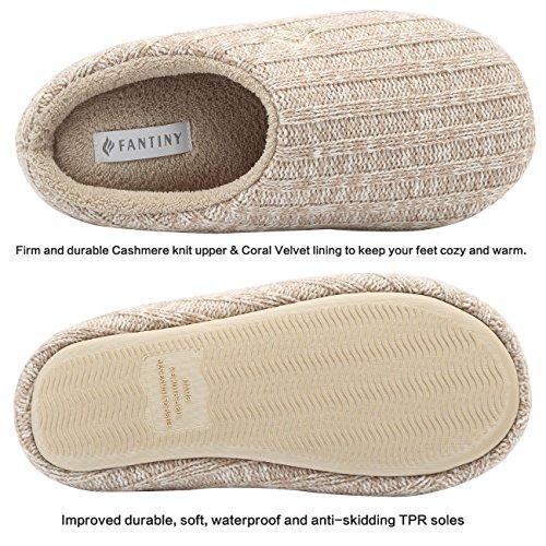 Anti Khaki Knitted Autumn Slippers Women's slip Cotton Foam Indoor Memory House Winter Fanture Cashmere qfnOxPPZ8