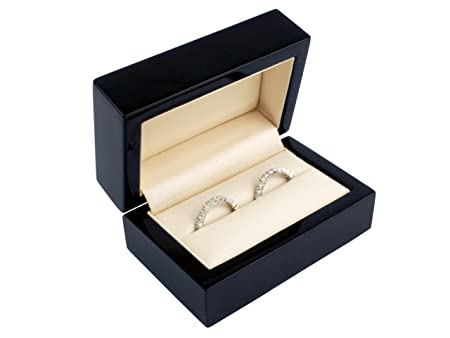 Wedding Ring Box.Luxury Solid Wooden Double Wedding Ring Boxes For 2 Rings High Polished Black Colour Finish Maple Wood Ideal Wedding Ring Box
