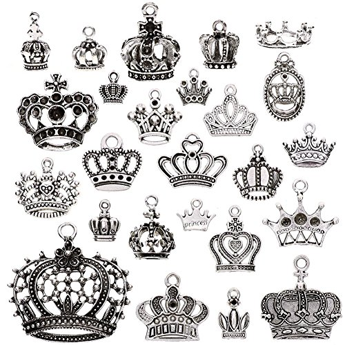 (KeyZone Wholesale 25 Pcs Vintage Silver Plated Mixed Crown Charms Pendants DIY for Jewelry Making and Crafting)