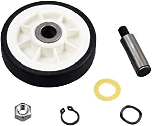 Dryer Roller Wheel Drum Support Kit 303373K for Whirlpool & Maytag Dryer 303373, 12001541, ER303373K, 303373K 312948 AP4008534, Drum Support Roller & Axle