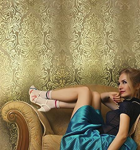 QUADRUPLE ROLL 113.52sq.ft (4 single rolls size) European Slavyanski wallcovering washable victorian pattern Vinyl Non-Woven Wallpaper gold textured stripe wall decor glitters metallic 3D (Washable Wallpaper)