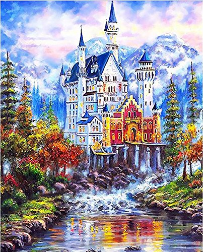 Diy Oil Painting Paint by Number Kit For Adults Kids-Scenery-Icy Castle 1620 Inch