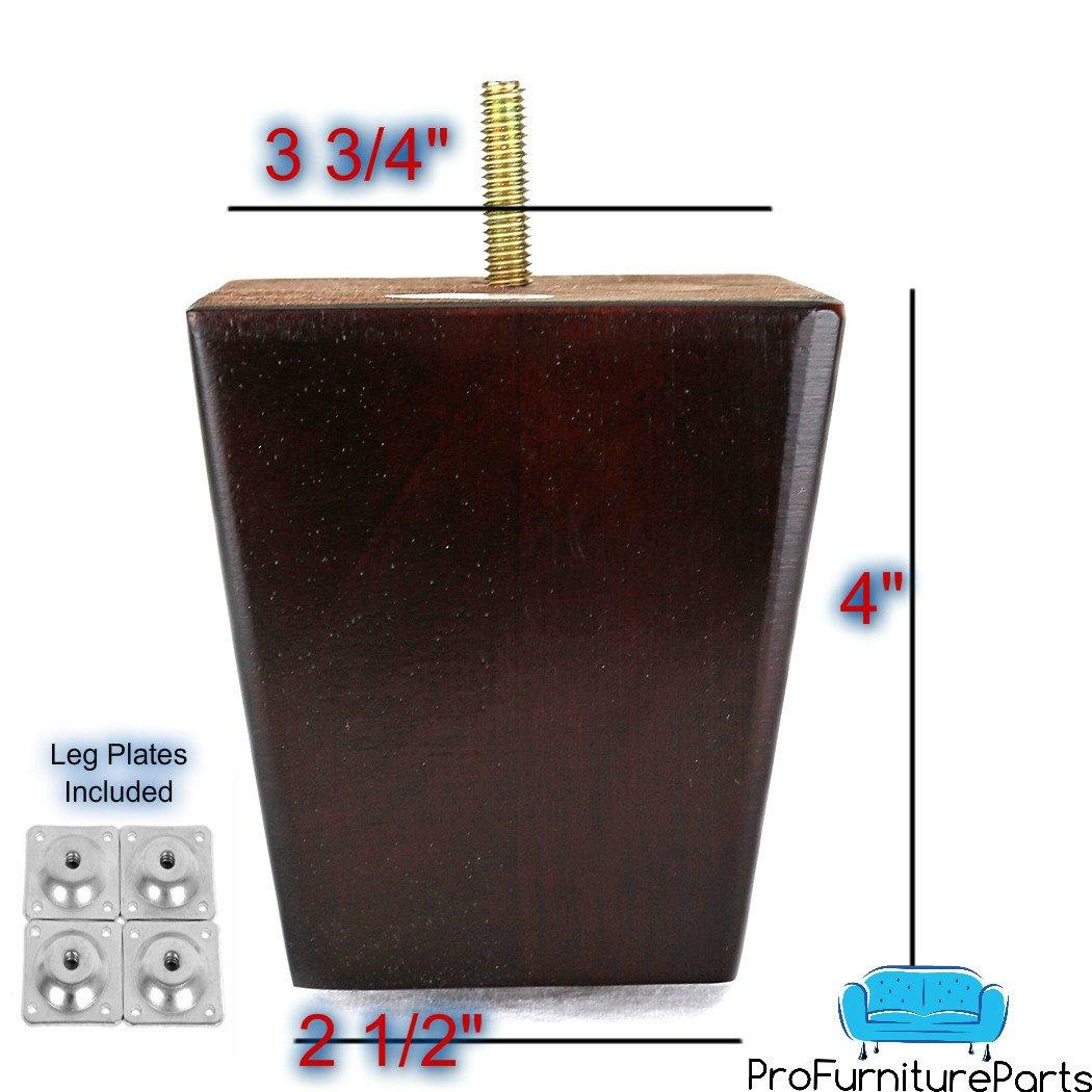ProFurnitureParts 4'' Inch Dark Cherry Finish Square Tapered Wood Sofa Legs W/ Leg Plates