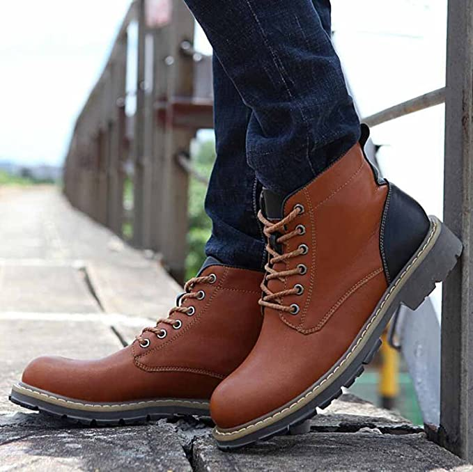 Men Retro Casual Boots Autumn New Leather Short Boots High Rise Motorcycle  Martin Boots: Amazon.co.uk: Sports & Outdoors