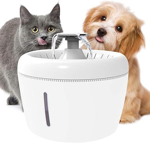 Macallen Fuente de Agua para Gatos Silencioso, 2.5L Bebedero Automatico para Perros y Gatos con Ventana de Nivel de Agua, Bebedero Fuente de Agua para Mascotas Filtro Cuádruple: Amazon.es: Productos para mascotas