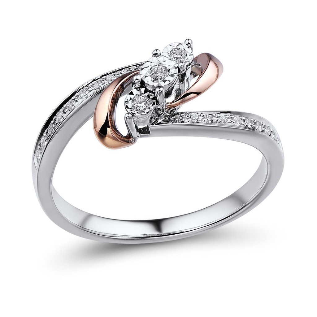 Diamond Promise Ring Rhodium Plated Sterling Silver and 10k Rose Gold 1/10 cttw (HI, I2-I3)