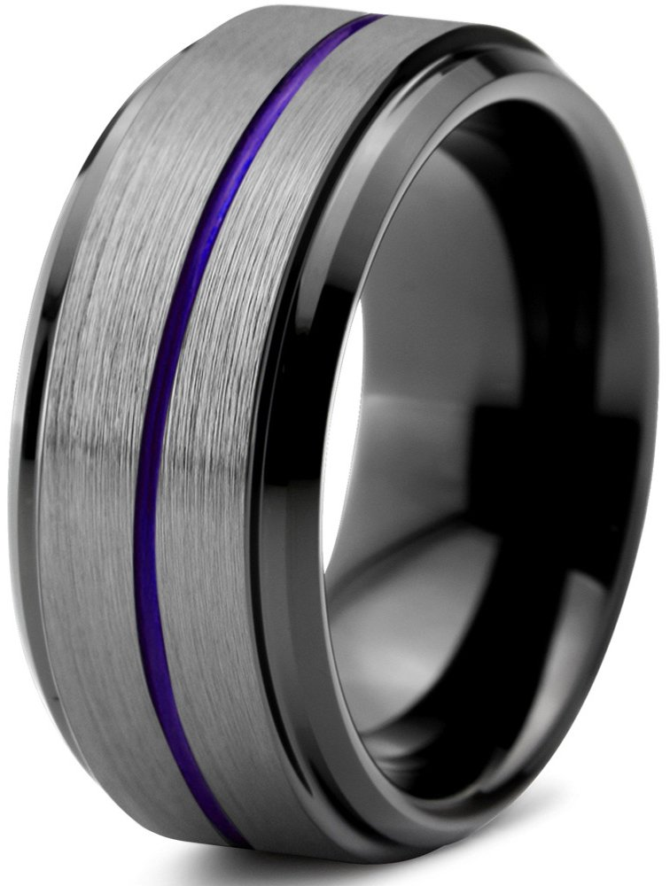 Chroma Color Collection Tungsten Wedding Band Ring 10mm for Men Women Red Green Purple Black Center Line Step Beveled Edge Brushed Polished Size 11