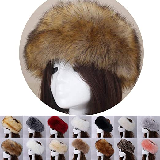 306c7a63974 Women Faux Fur Fluffy Russian Cossack Style Cap Headband with Elastic Hat  Winter Earwarmer Ski Hats