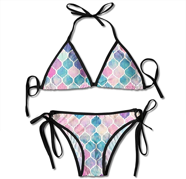 6b0a657d348 Amazon.com: Womens Bikini Rainbow Pastel Watercolor Moroccan Pattern  Adjustable Bathing Suits: Clothing
