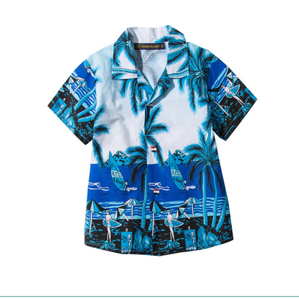 Yiwa Traje de ba/ño La playa floja de la verano-verano del ni/ño viste la camisa hawaiana casual del estilo de la moda