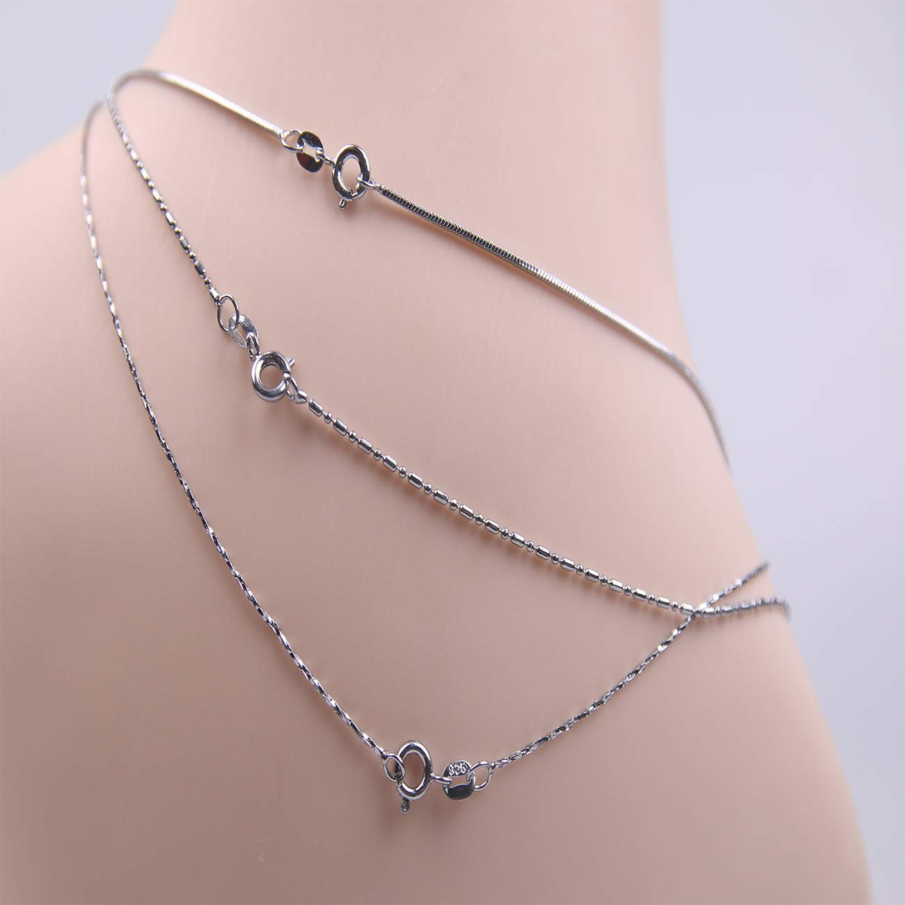 YYJewelry 0.5 MM Silver Rhodium Plated Box Chain Necklace Cable Chain Snake Chain Necklace for Women Girls,3 Pieces //17-18