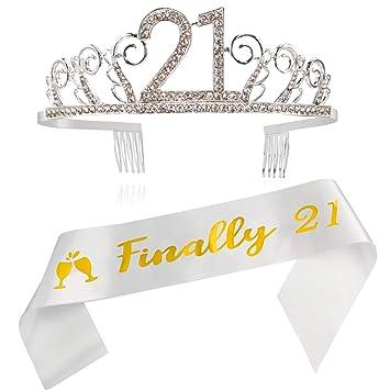 Amazon.com: Juego de 21 coronas y tiara de satén con ...
