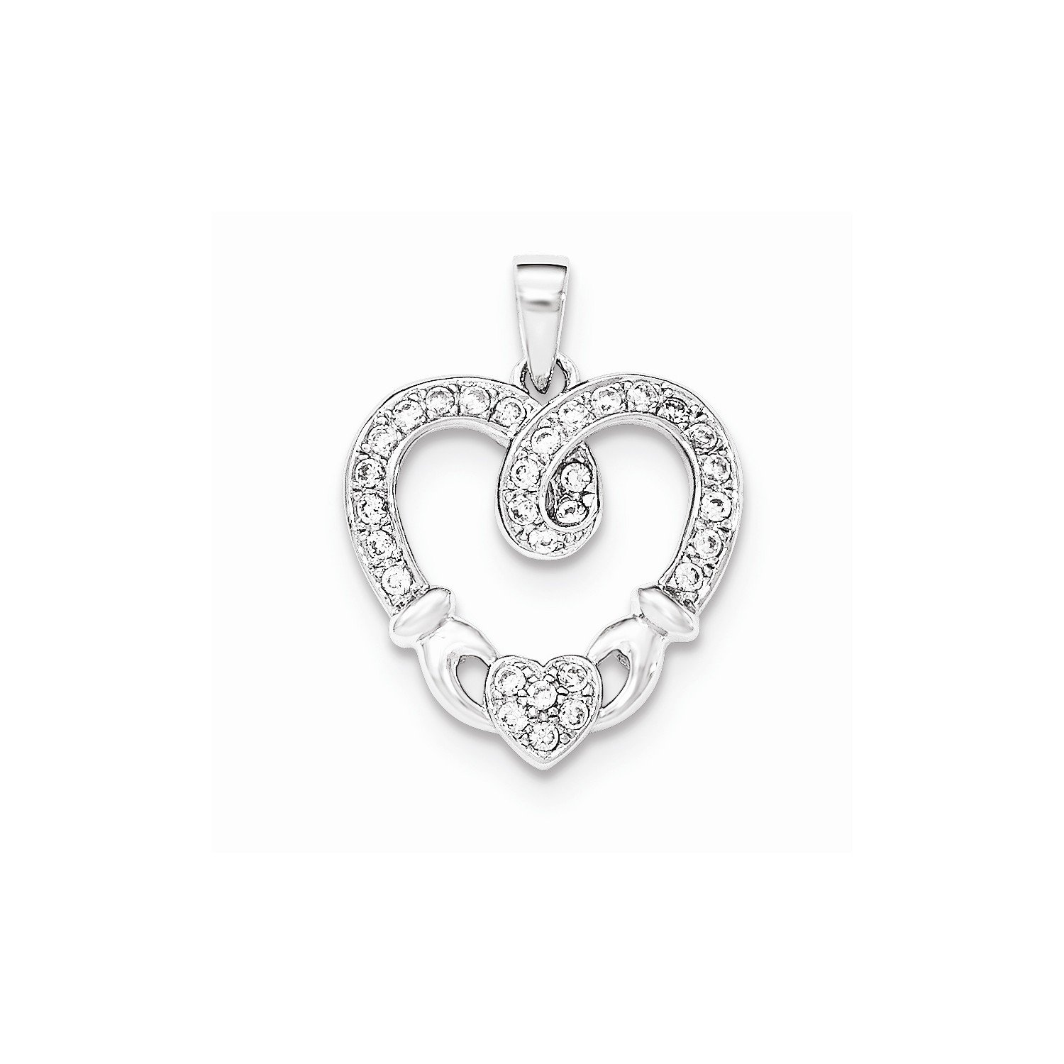 West Coast Jewelry Sterling Silver CZ Heart Claddagh Pendant