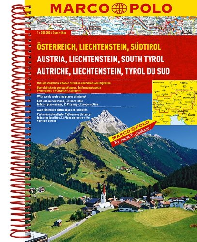 Austria/Liechtenstein/South Tyrol Marco Polo Road Atlas
