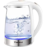 Topwit Electric Kettle Water Heater Boiler, Glass Cordless Tea Kettle 2 Liter with LED Light, Stainless Steel Inner Lid and Bottom, Fast Heating with Auto Shut-Off and Boil Dry Protection, White