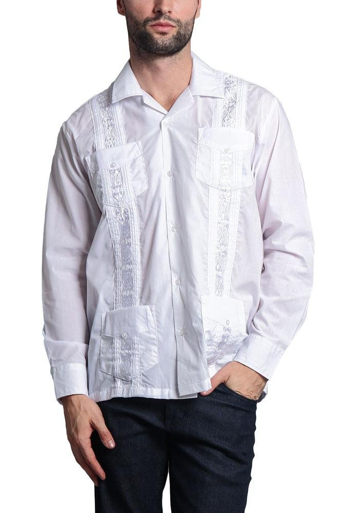 G-Style USA Men's Long Sleeve Guayabera Cuban Short Sleeve Collared Embroidered 4 Pocket Cotton Blend Shirt 2016-1 - White - 4X-Large