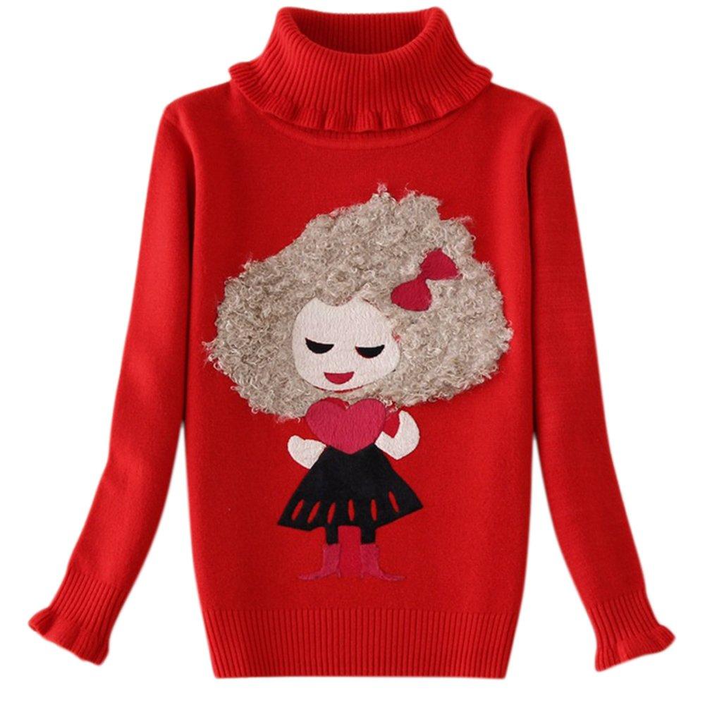 Tueenhuge Baby Girls Pullover Cartoon Cotton Winter Little Girls Turtleneck Sweater