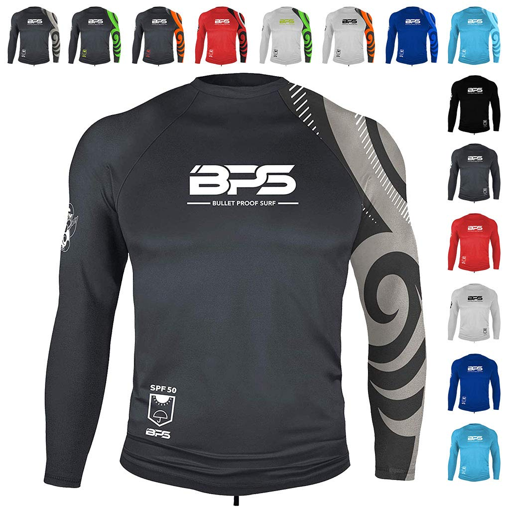 BPS Long Sleeve Quickdry Rash Guard w/UPF 50+ - Charcoal Grey, XXL by BPS