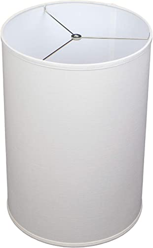 FenchelShades.com 14 Top Diameter x 14 Bottom Diameter 20 Height Fabric Drum Lampshade Spider Attachment Designer Linen Off White