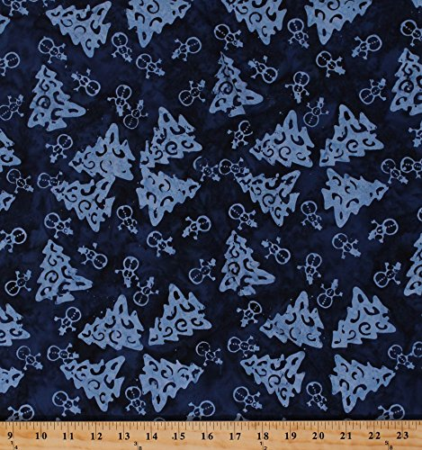Cotton Christmas Trees Pine Trees Snowmen Snowman Dark Blue Batik Festive Holiday Balinese Writer Wishes Cotton Fabric by the Yard (4219-317) (Christmas Tree Batik)