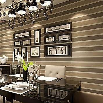 Fototapeten Wallpaper Horizontal, Streifen Schlicht Und Modern Bronzing  Braun Vliestapete Hintergrund Tapete Im Wohnzimmer