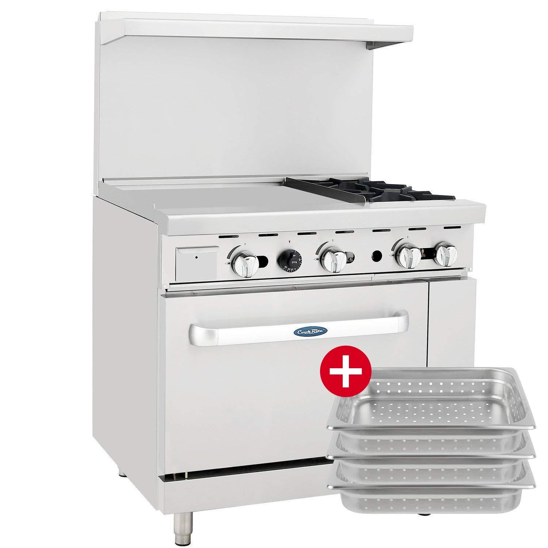 CookRite ATO-24G2B Natural Gas Range 2 Burner Hotplates with 24'' Manual Commercial Griddle Standard Oven - 125,000 BTU