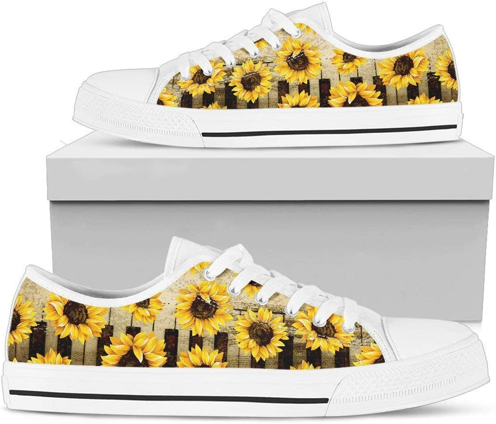 R Malone Piano Sunflowers Low Top Shoes Gift Idea for Women Who Love Music and Sun Flower