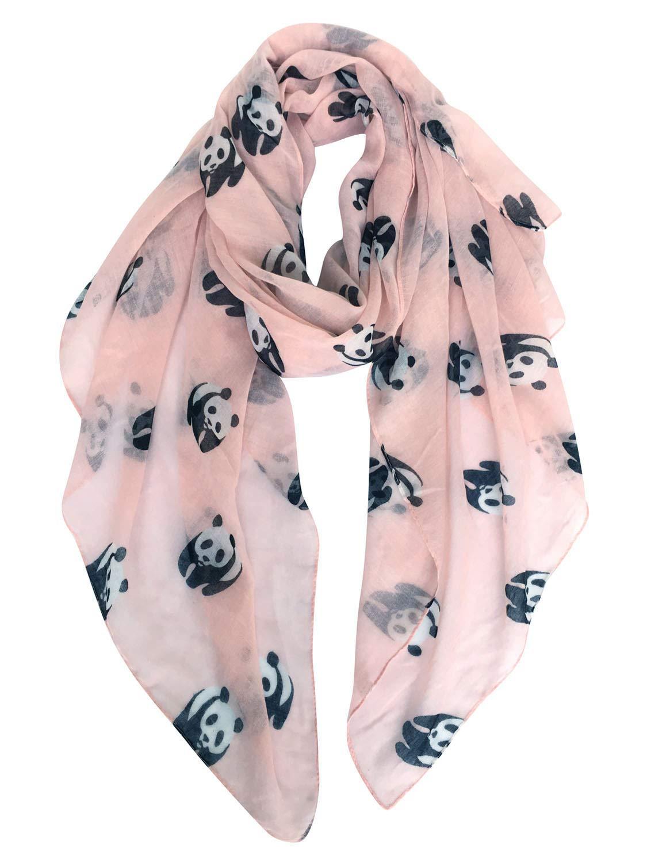 GERINLY Animal Print Scarves: Cute Pandas Pattern Women Wrap Scarf (Light Pink)