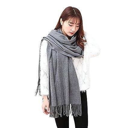 Grande écharpe en cachemire Turkistore, couleur pure, hiver, chaud, châle,  grande écharpe longue, châle écharpe wrap pour femme et jeune fille - - L   ... 2e439a32355