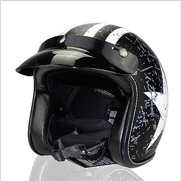 3//4 Harley Motorradhelm Retro Open Face Jet Scooter Helm Erwachsener Anti Fall Cruiser Chopper Cafe Racer Motorradhelm