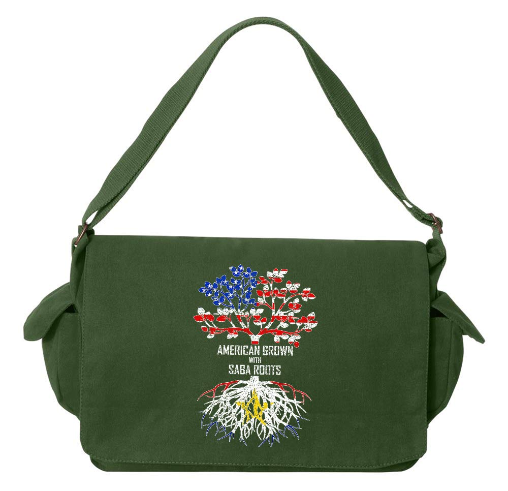 Tenacitee American Grown with Saba Roots Grey Brushed Canvas Messenger Bag
