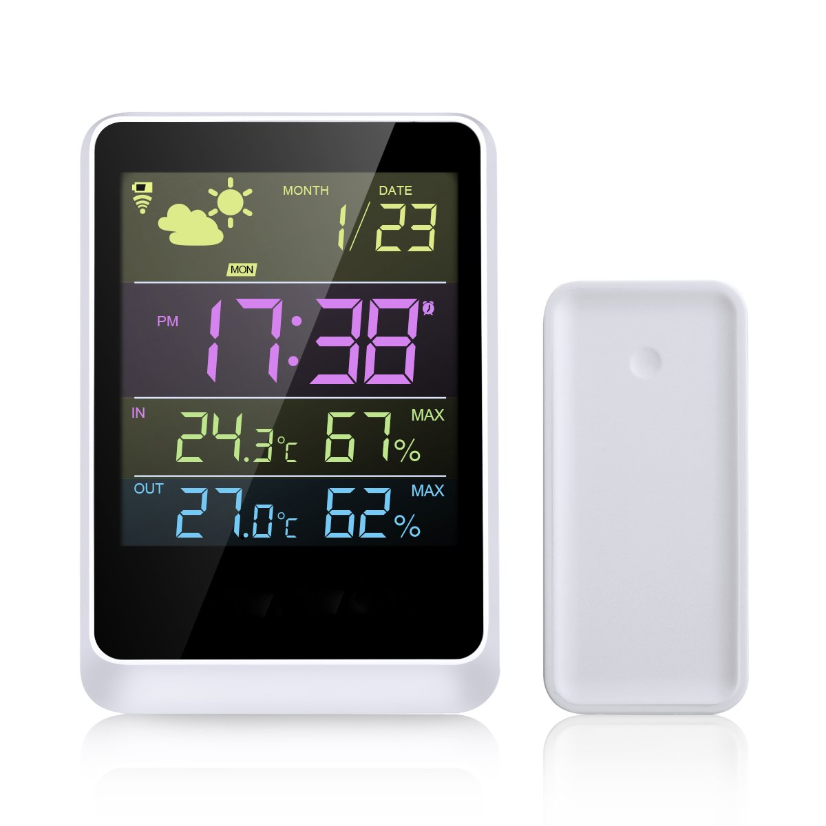 WELQUIC Wireless Weather Forecast Station and Outdoor Remote Sensor Forecasts Temperature and Relative Humidity Displays Data in Full-Color LCD Screen Features Date & Time 100ft/30m Range