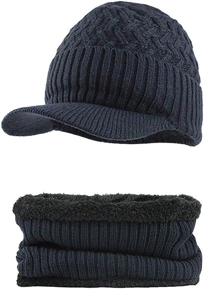 Fossen Invierno Hombre Gorro de Punto Tejer de lana Beanie Sombrero de gorras con Viseras + Bufanda de Cuello redondo (Navy): Amazon.es: Ropa y accesorios