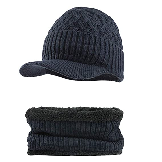 Newsboy Cap with Elastic Back, Mens Winter Hat and Scarf Set 2 Piece Warm Knit Cap and Scarf, Knitting at Amazon Mens Clothing store: