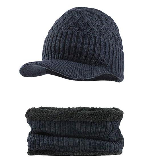 4978b7092aa9 Fossen Invierno Hombre Gorro de Punto Tejer de lana Beanie Sombrero de  gorras con Viseras + Bufanda de Cuello redondo