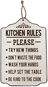 Funly mee Rustic Wooden Kitchen Rules Wall Decor,Kitchen Wall Signs with Rope-17.8x11.8(in)