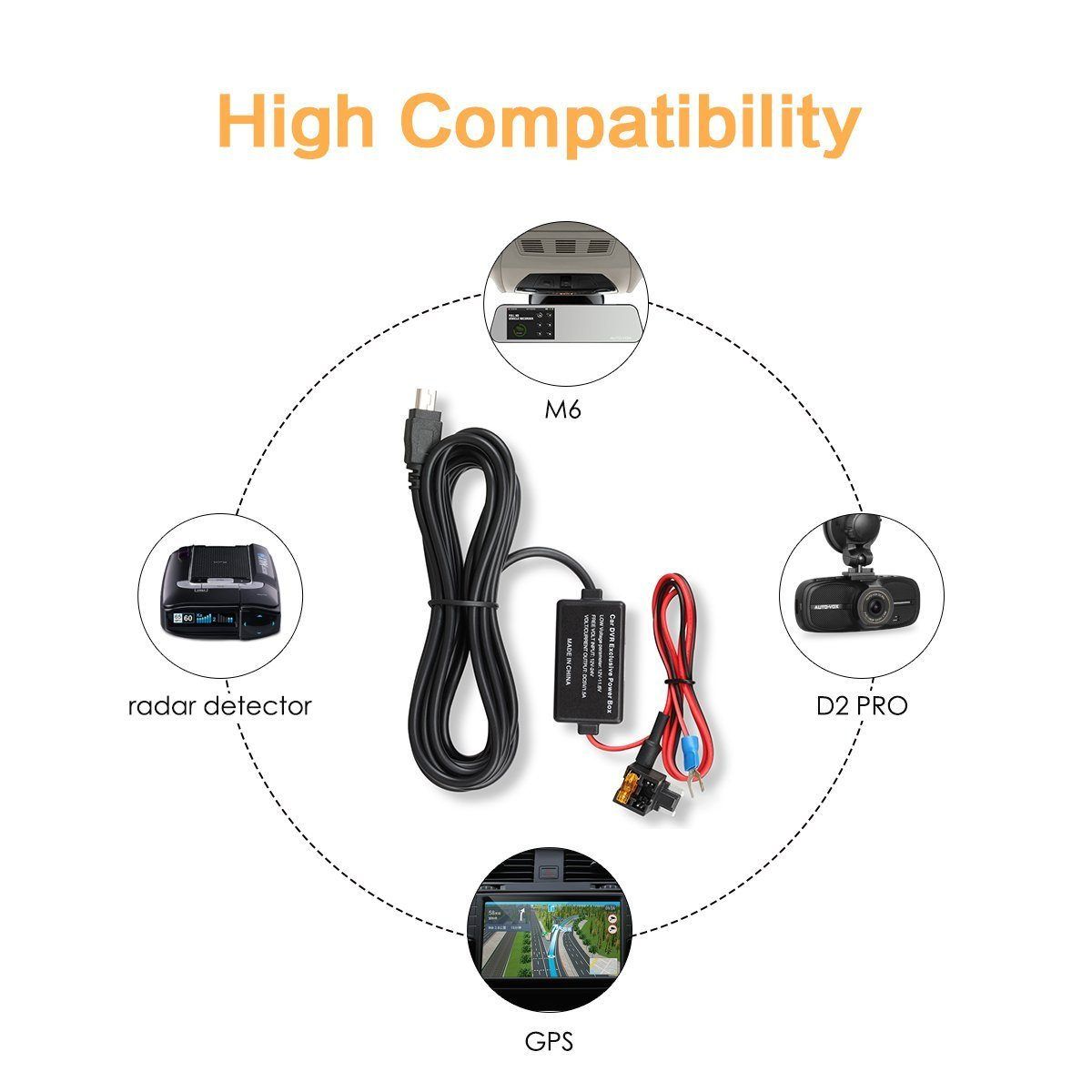 Auto Vox Dash Cam Hardwire Kit Lowprofile Mini Fuse 2014 Bmw M6 Box Adapter Car Charger Cable1274 Ft Compatible Ondash V1 A118 N2 G1w Gps Navigator Radar