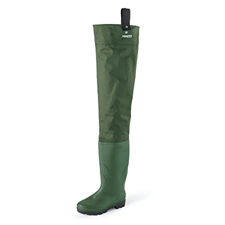 TideWe Hip Wader, Lightweight Hip Boot for Men and Women,2-Ply PVC Nylon Fishing Hip Wader Green and Brown