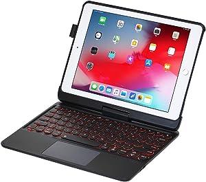iPad Keyboard Case for iPad 2018 (6th Gen) - iPad 2017 (5th Gen) - iPad Pro 9.7 - iPad Air 2 & 1 - Thin & Light - 360 Rotatable - Backlit 7 Color - iPad Keyboard Case with Touchpad (9.7, Black)