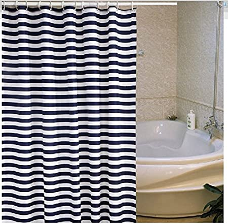 dark blue shower curtain. Dark Blue Shower Curtain  Polyester Thickened Trident Stripe Curtains Nice