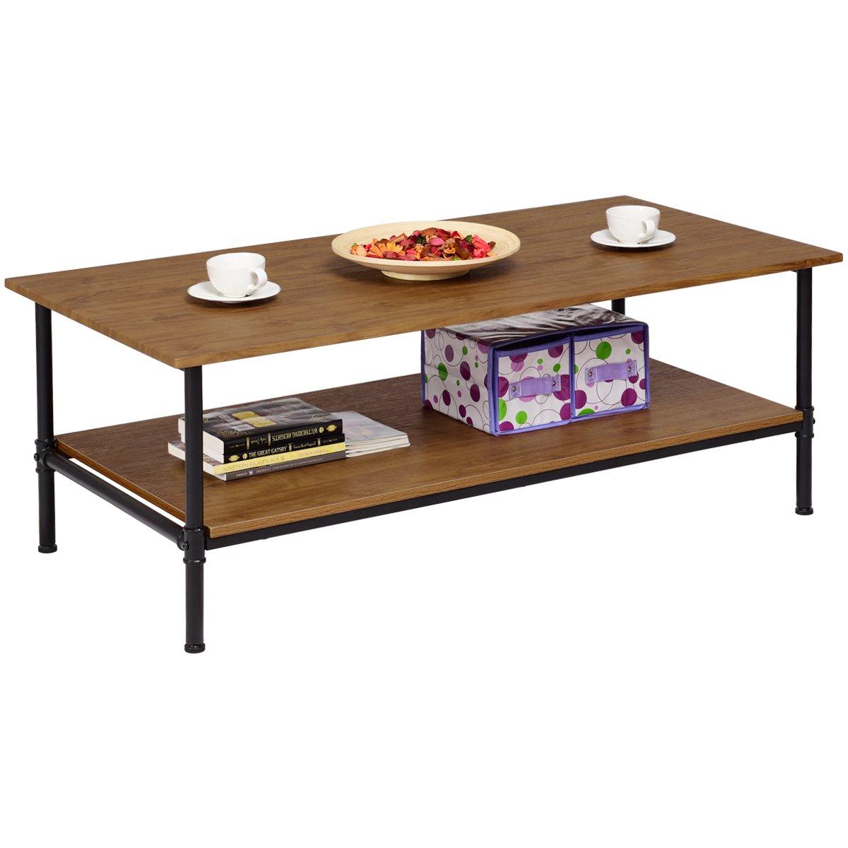 Giantex Coffee Table Decor with Storage Metal Solid Frame, Natural Wood Decorative Line Pattern, 360 Degree Flexible Feet, for Living Room Bedroom Accent Cocktail Sofa Side Table