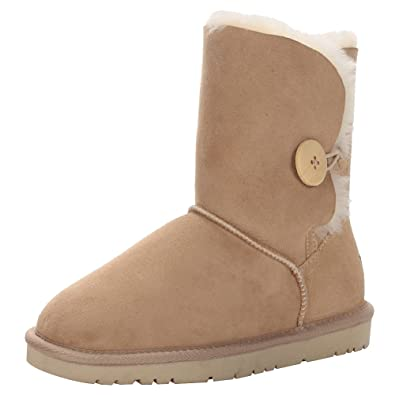 Women Classy Sheepskin Mid-Calf Snow Boots Warm Shearling Wool Lined Winter Boots With Button