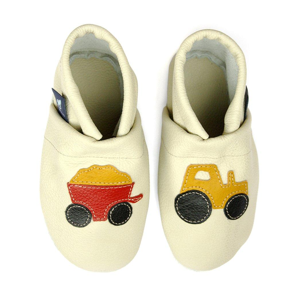 Pantau Leder Krabbelschuhe Lederpuschen Babyschuhe Lauflernschuhe mit Traktor, 100% Leder pantau.eu