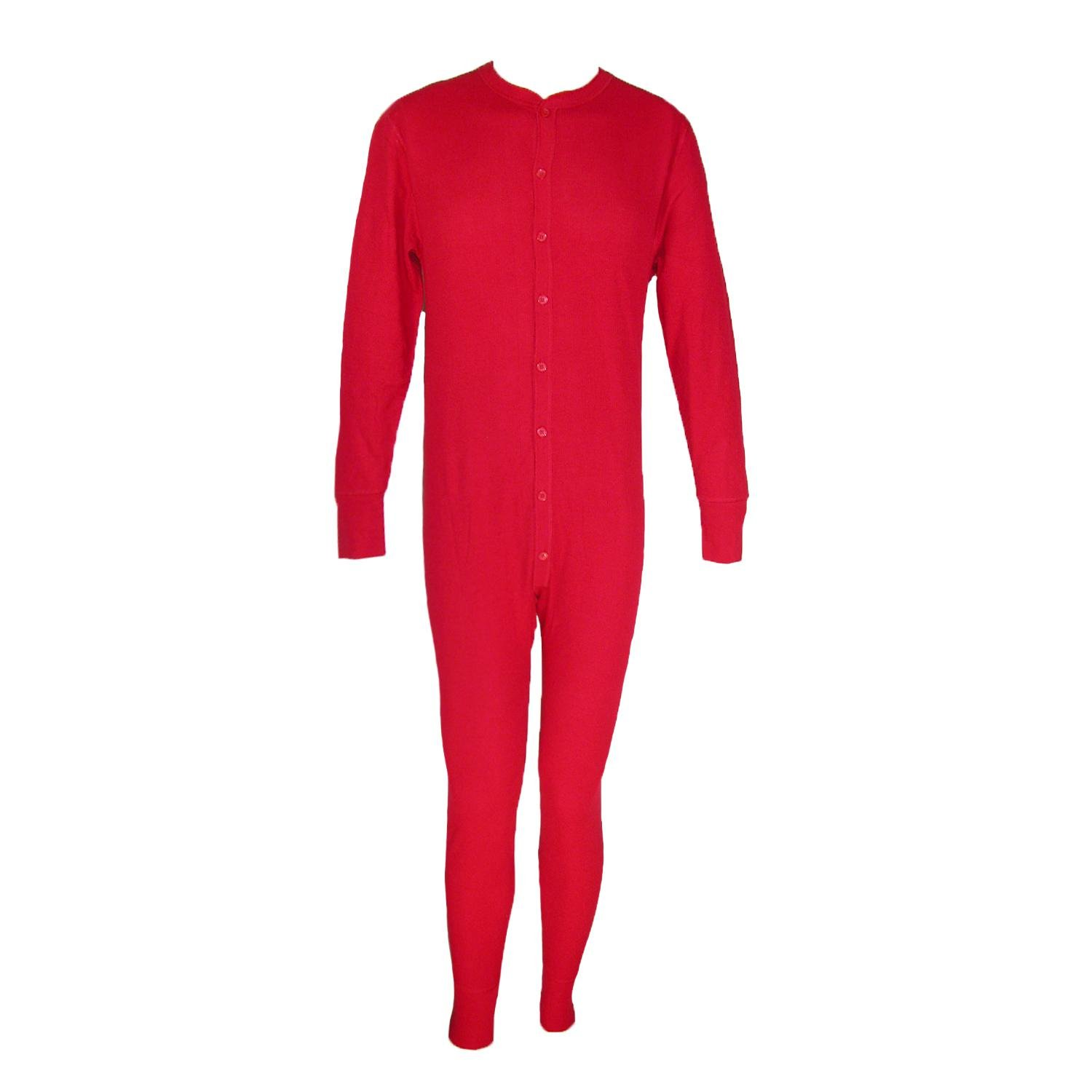 Hanes Men's Big and Tall Thermal Insulated Union Suit, 3X, Red