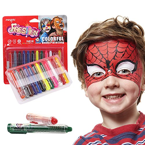 Face Paint Kit 12 Color, Non-Toxic Kids Makeup Washable Face Painting Kits, Face Body Paint Crayons for Toddler Children Teen Adult, Ideal for Halloween Costume Cosplay Birthday Parties ()