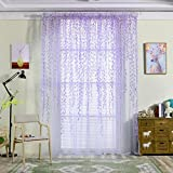 YJBear Purple Willow Leaf Transparent Polyester Sheer Curtain Panels for Bedroom Voile Window Drapes With Rod Pocket for Living Room Window Treatment Set for Wedding/Party 118″ x 106″(2 Panels)