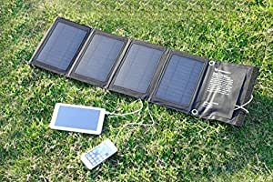 Solar Phone Charger by icefox (TM) 14W Dual Port mobile/Cell Phone solar charger with Smart Charge IC Technology. solar powered iphone charger compatible with for ipad,samsung,LG,Motorola HTC and many other IOS and Android phones