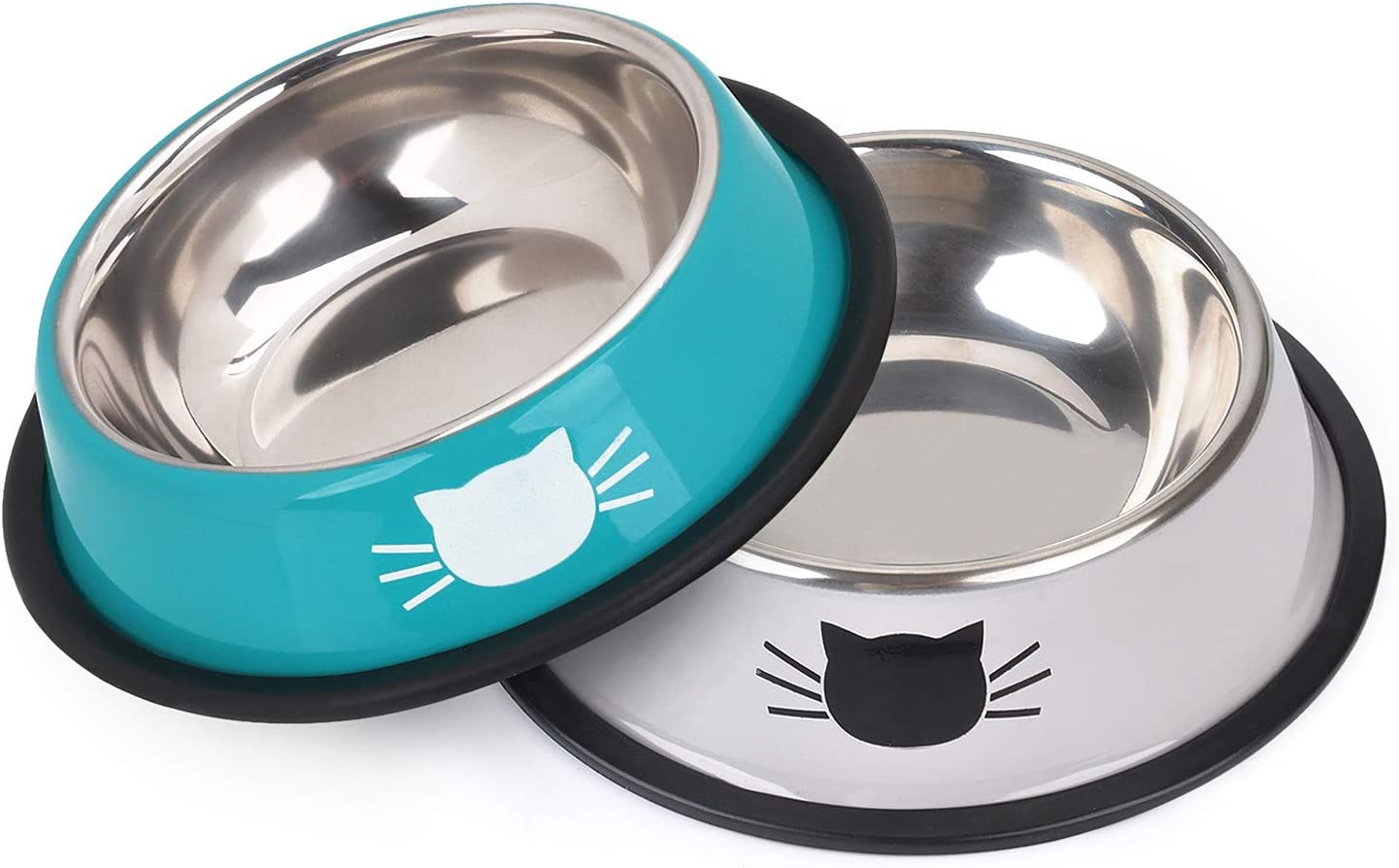 Legendog 2Pcs Cat Bowl Pet Bowl Stainless Steel Cat Food Water Bowl Non-Slip Rubber Base Small Pet Bowl Cat Feeding Bowls Set