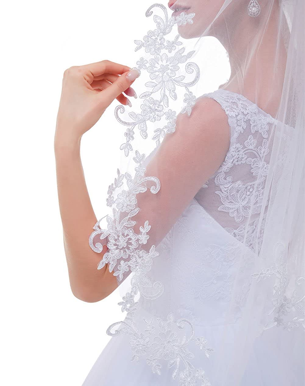 AIBIYI 1 Tier 2 Tier Lace Fingertip Veils for Brides with Comb ABY-V10