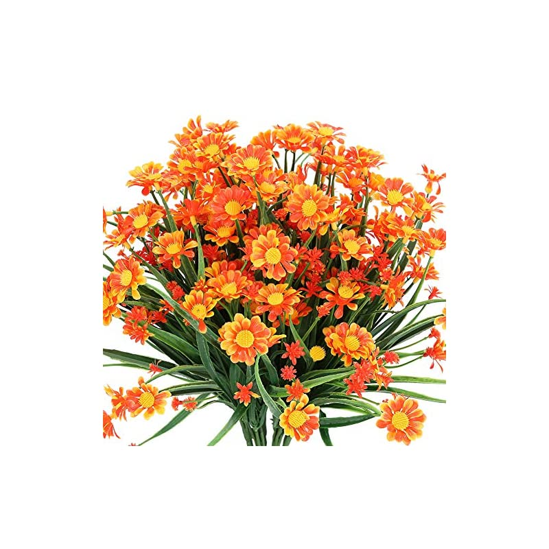 silk flower arrangements temchy artificial daisies flowers outdoor uv resistant 4 bundles fake foliage greenery faux plants shrubs plastic bushes for window box hanging planter farmhouse indoor outside decor(orange red)